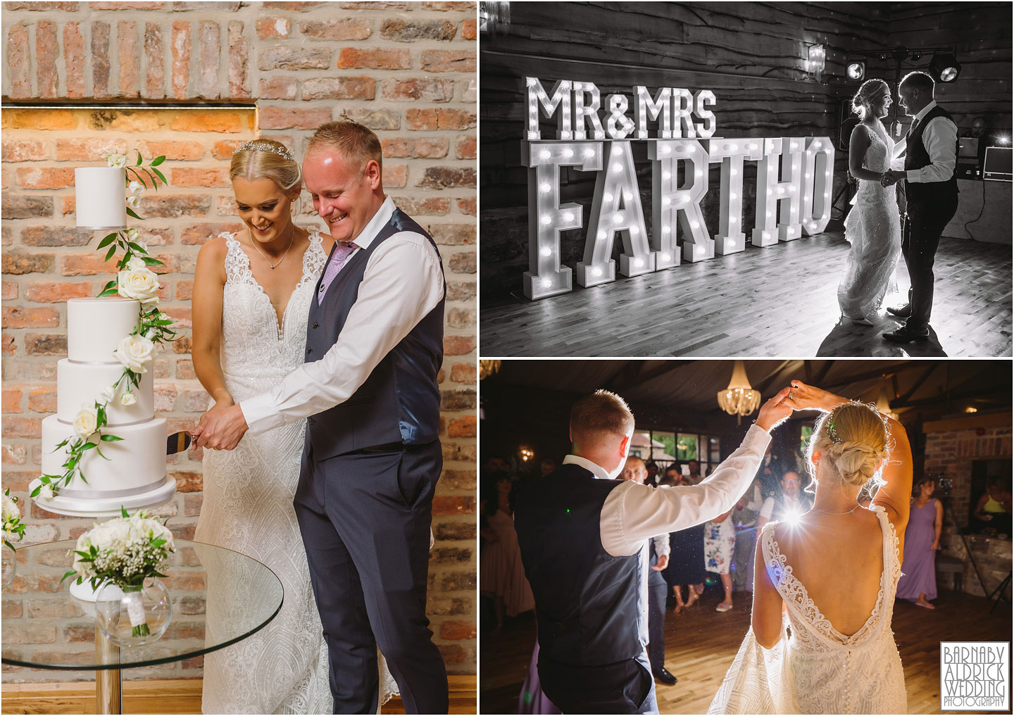 Cake cut and first dance wedding photo At The Oakwood, Wedding at The Oakwood at Ryther, Oakwood at Ryther wedding photographer, The Oakwood at Ryther wedding photos, Stylish Yorkshire wedding barn venue