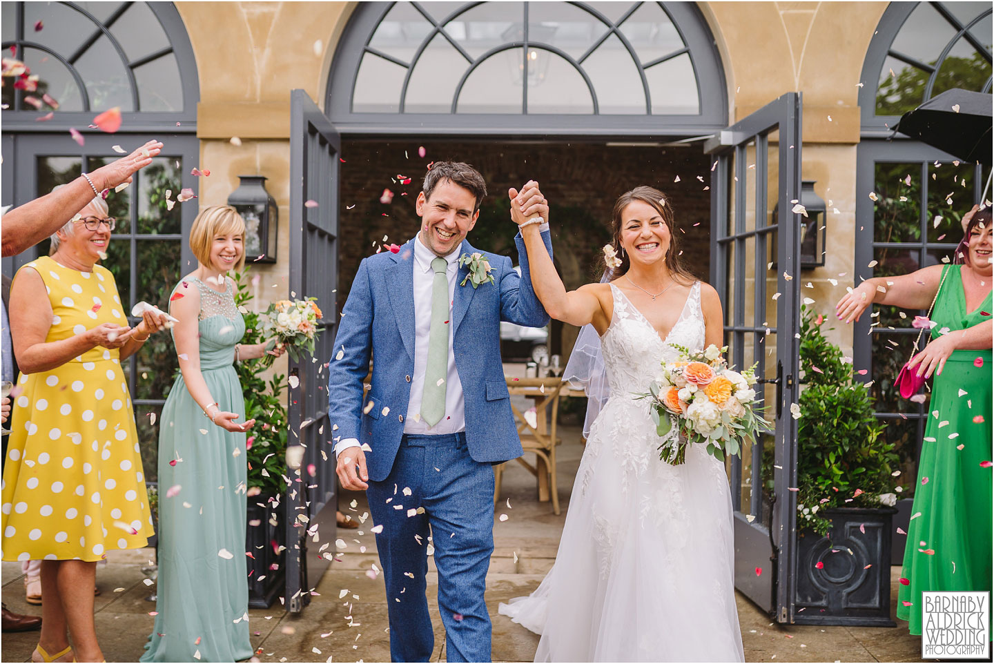 Confetti at the Fig House Walled Garden at Middleton Lodge, Fig House Walled Garden Middleton Lodge Wedding Photos, Fig House Middleton Lodge Richmond, Middleton Lodge wedding photographer, Middleton Lodge Wedding Photography, Yorkshire Wedding Photographer Barnaby Aldrick