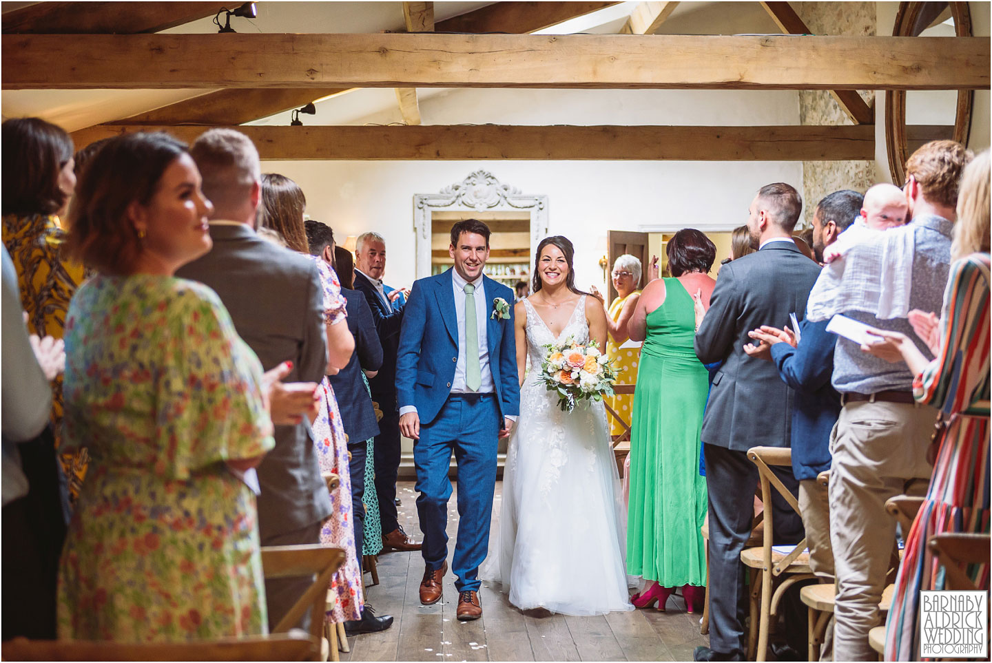 Down the aisle at the Fig House Walled Garden at Middleton Lodge, Fig House Walled Garden Middleton Lodge Wedding Photos, Fig House Middleton Lodge Richmond, Middleton Lodge wedding photographer, Middleton Lodge Wedding Photography, Yorkshire Wedding Photographer Barnaby Aldrick