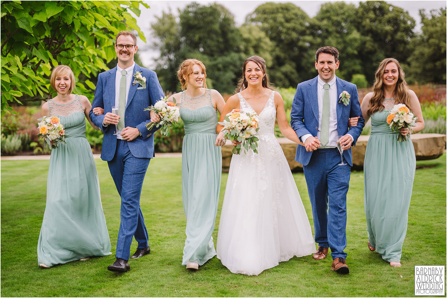 Wedding party bridesmaids and groomsmen photo at the Fig House Walled Garden at Middleton Lodge, Fig House Walled Garden Middleton Lodge Wedding Photos, Fig House Middleton Lodge Richmond, Middleton Lodge wedding photographer, Middleton Lodge Wedding Photography, Yorkshire Wedding Photographer Barnaby Aldrick