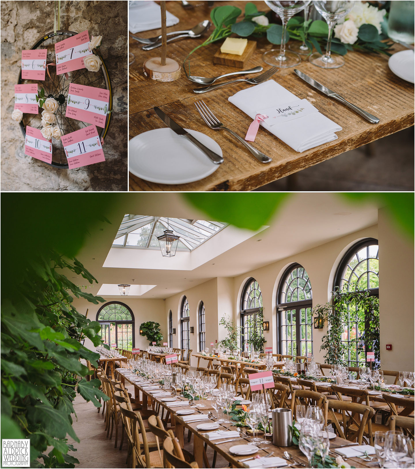 Wedding breakfast at the Fig House Walled Garden at Middleton Lodge, Fig House Walled Garden Middleton Lodge Wedding Photos, Fig House Middleton Lodge Richmond, Middleton Lodge wedding photographer, Middleton Lodge Wedding Photography, Yorkshire Wedding Photographer Barnaby Aldrick