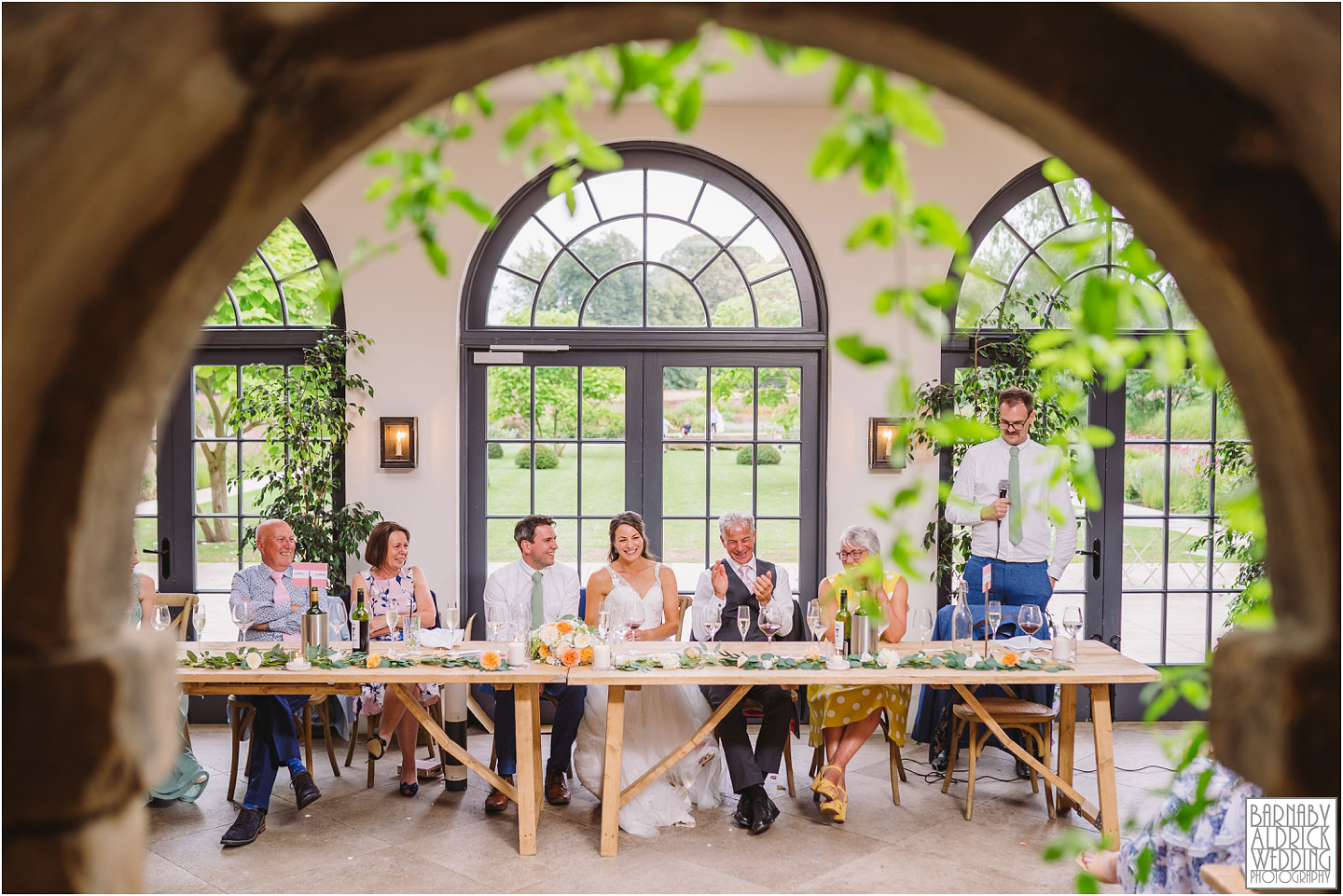 Wedding speeches at the Fig House Walled Garden at Middleton Lodge, Fig House Walled Garden Middleton Lodge Wedding Photos, Fig House Middleton Lodge Richmond, Middleton Lodge wedding photographer, Middleton Lodge Wedding Photography, Yorkshire Wedding Photographer Barnaby Aldrick