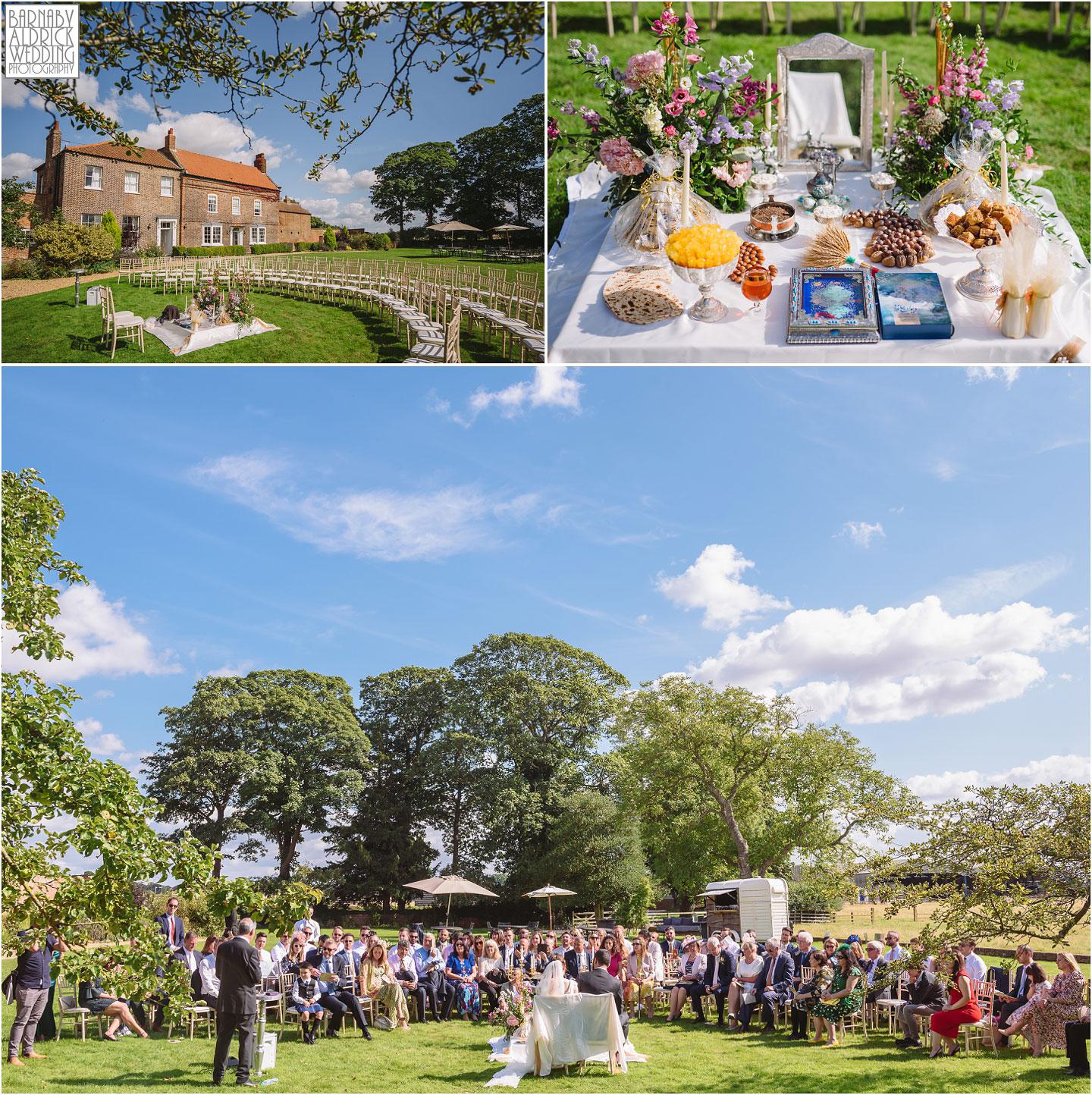 Iranian outdoor wedding ceremony at Hornington Manor luxury barn wedding venue near York in North Yorkshire