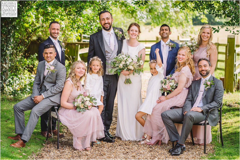 Wedding Party Group photos outdoor wedding ceremony at Hornington Manor luxury barn wedding venue near York in North Yorkshire