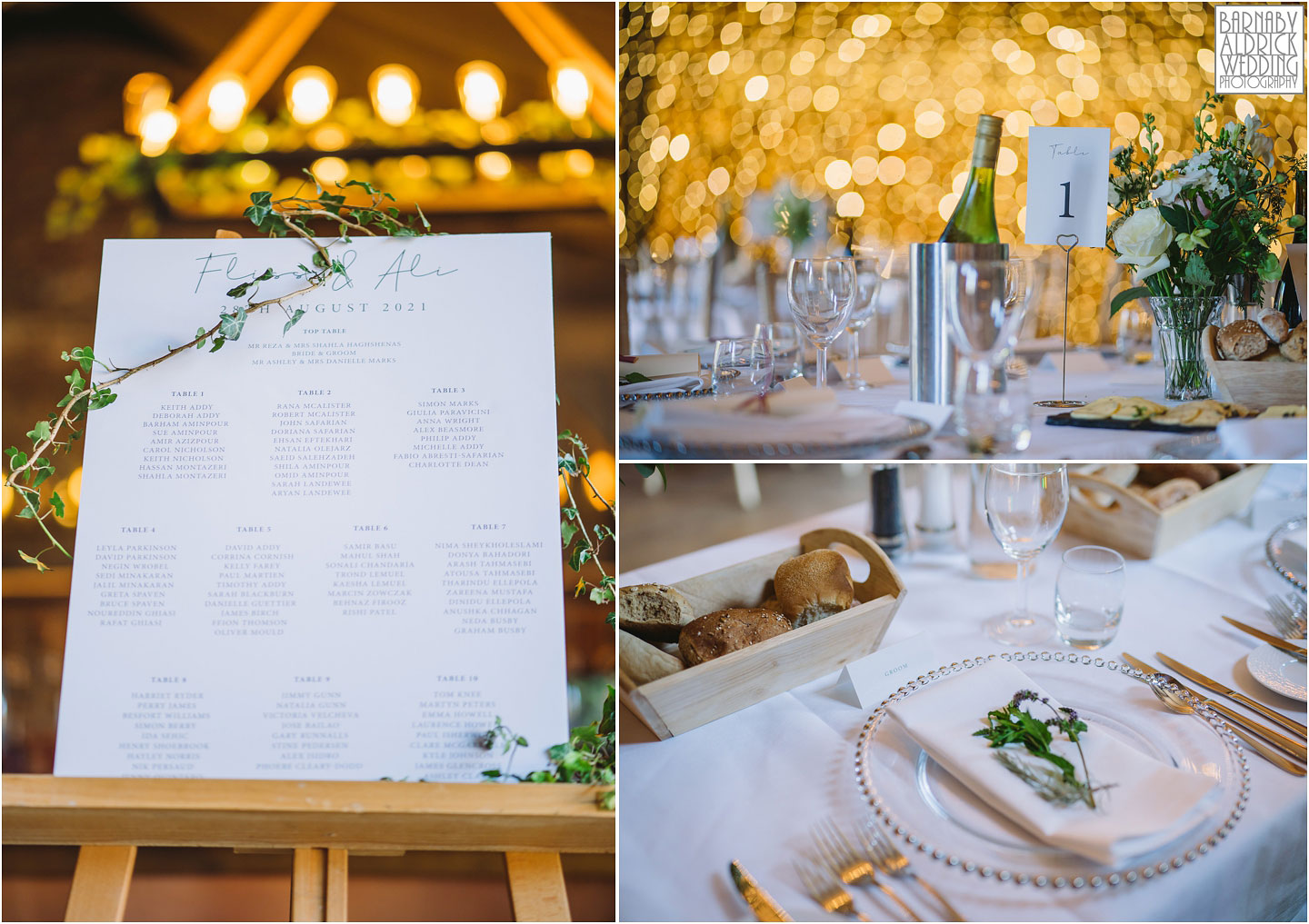 The Wedding Breakfast Barn table details at Hornington Manor, Wedding band at Hornington Manor, Hornington Manor Wedding Photography, Hornington Manor Wedding Photographer, Yorkshire Wedding, Yorkshire Wedding Photographer, York Luxury Barn Wedding Venue, Yorkshire farmhouse Wedding Barn