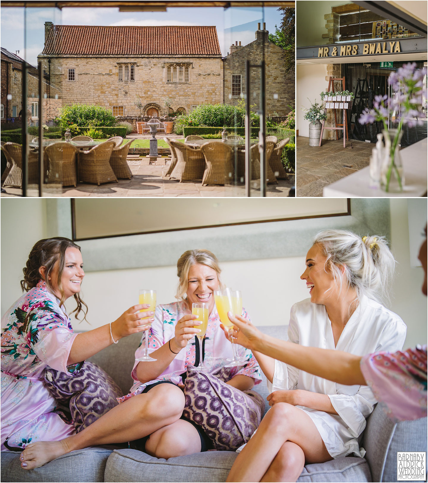 Bride and bridesmaids at Priory Cottages in Wetherby, Priory Cottages Wedding, Summer Wedding