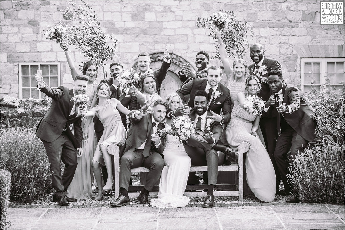 Fun Wedding Party Group photo at Priory Cottages, Priory Cottages Wedding, Syningthwaite Priory photos