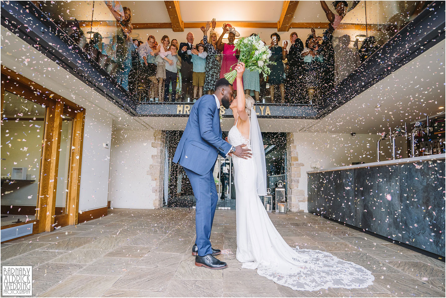 Priory Cottages balcony confetti photo