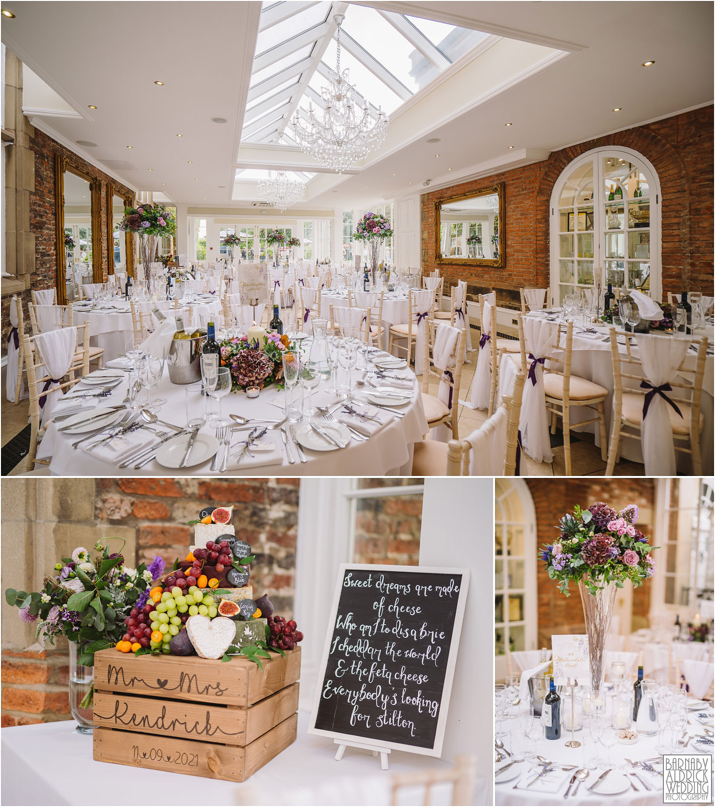 Wedding breakfast in the orangery at Goldsborough Hall, Goldsborough Hall Wedding Photography, Yorkshire Wedding, Yorkshire Wedding Photographer, Knaresborough Wedding, Harrogate wedding venue, Yorkshire Stately House Wedding