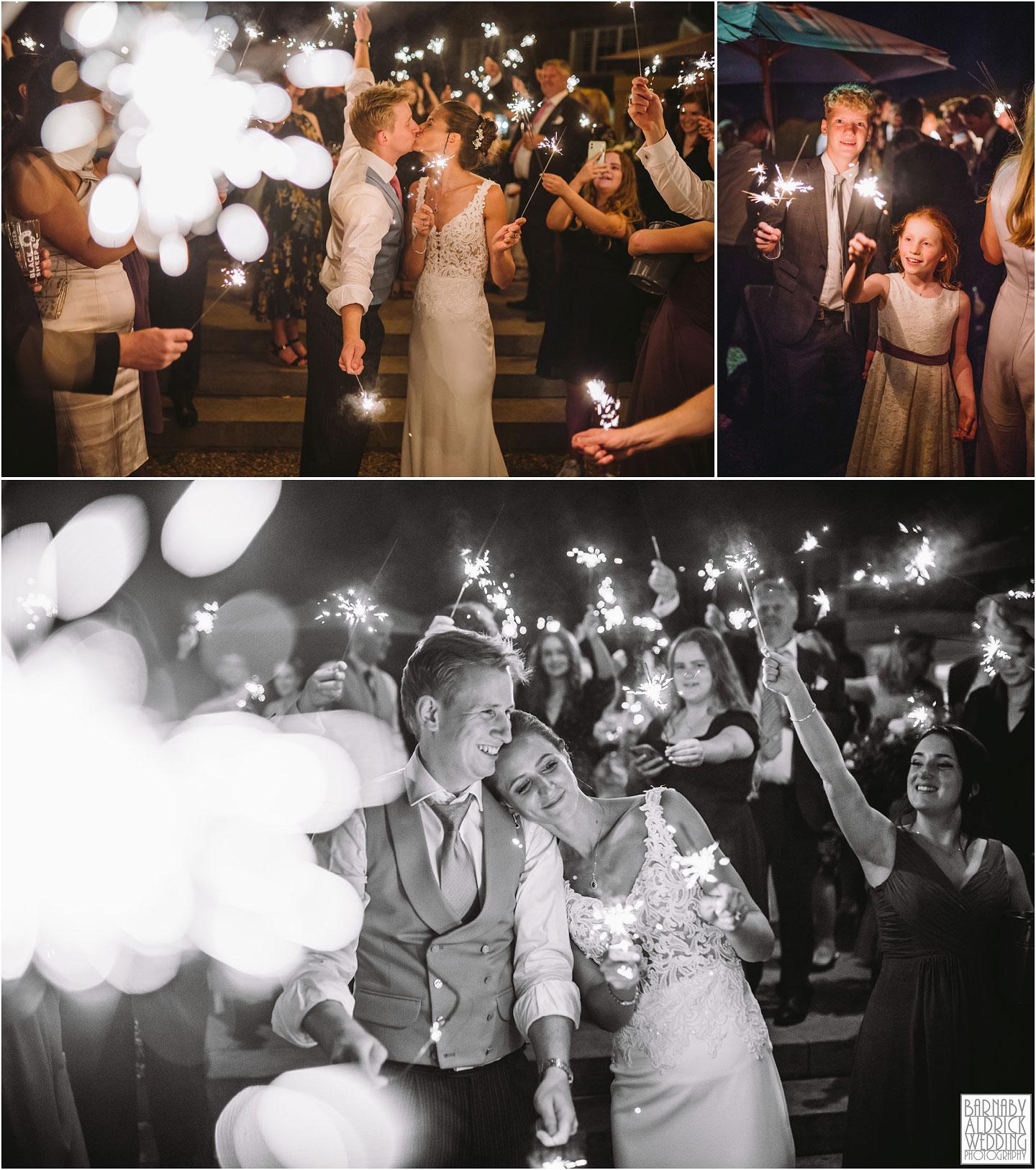 Sparklers wedding photos at Goldsbrough Hall