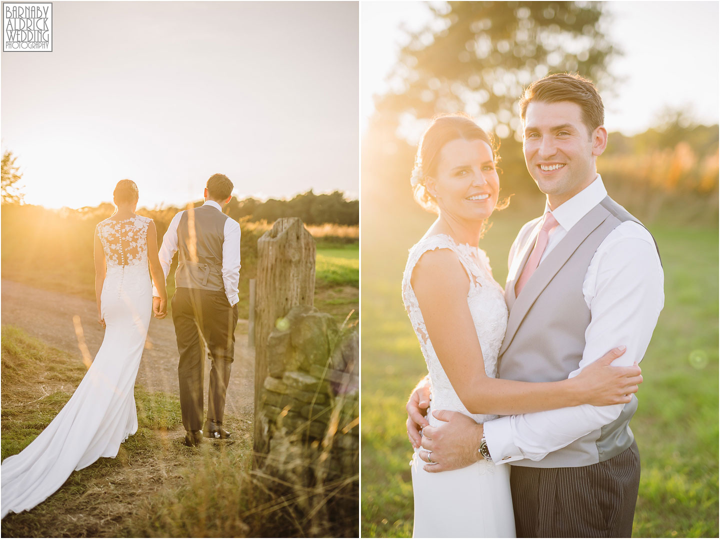 Golden Hour portraits at a Wedding in a field near Farnley Tyas in Yorkshire